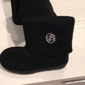 Bebe Black w/ Rhinestone Medallions Girls Boots